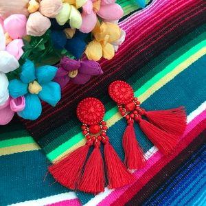 💃🏻🌶 Red bead tassel earrings 🌶💃🏻